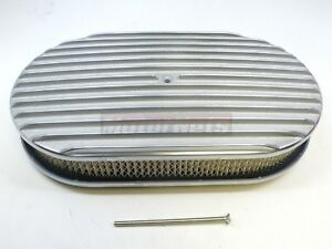 15 Oval Finned Polished Aluminum Air Cleaner Nostalgic Ford Chevy Mopar Retro