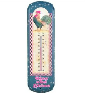 New Rise Shine Rooster Thermometer Primitive Country Farmhouse Kitchen Sign