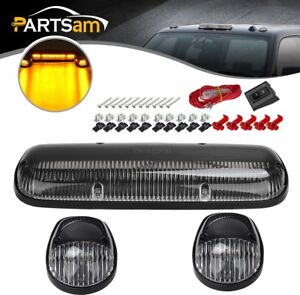 Amber Led Cab Roof Top Lights Marker Running Lamps Clear 3pcs Set For Suv Truck