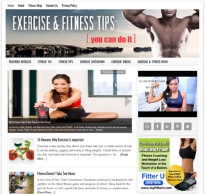 Exercise Fitness Tips Affiliate Website For Sale W Daily Auto Content
