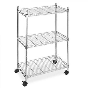 New Chrome Wire Shelving Cart Unit 3 Shelves W casters Shelf Rack Wheels 883