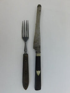 Antique Fork And Knife Signed Rostfrei 19th Century Kitchen
