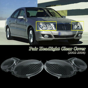 R L Headlight Clear Lens Cover For Mercedes Benz E Class W211 E320 E350 02 08