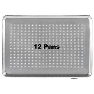 12 pack Pans 18 X 26 Perforated Full Size 19 Gauge Wire In Rim Aluminum Pans