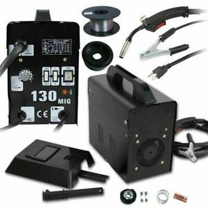 Mig 130 Flux Core Wire Welder Welding Machine W Cooling Face Mask Black 110v