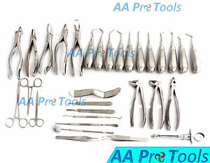 Aa Pro 29 Pcs Oral Dental Extraction Surgery Extracting Elevators Forceps Tools