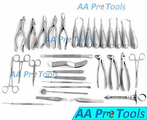 Aa Pro 32 Pcs Oral Dental Extraction Surgery Extracting Elevators Forceps Instr
