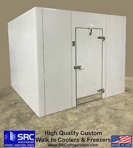 New Walk In Storage Cooler Custom With Refrigeration White Epoxy Panels 10x10x8