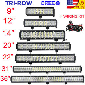 Tri row 9 12 14 20 23 31 36 inch Led Light Bar Spot Flood Offroad 4wd Atv