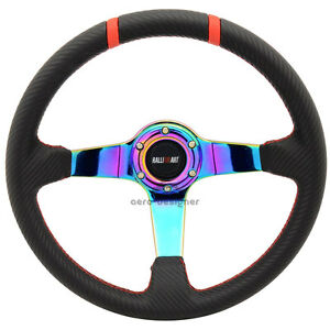 350mm Neo 3 Spokes Steering Wheel Pvc Leather Cf Face For Mitsubishi Ralliart