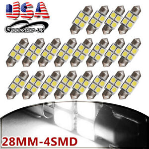 20x Pure White 28mm 5050 Festoon Led Interior Dome Map License Plate Light Bulbs