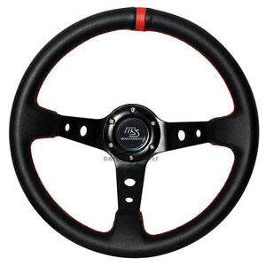 350mm Jdm Racing Deep Dish Black Steering Wheel Pvc Leather W Ms Mazdaspeed