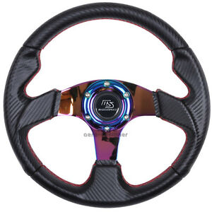 320mm Jdm 6 Bolt Carbon Racing Steering Wheel Neo Chrome Spoke W Ms Mazdaspeed