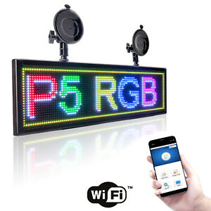 20 Full Color Car Led Sign Wifi Programmable Scrolling Message Display Board