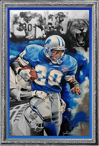 ORIGINAL DETROIT LIONS BARRY SANDERS  ACRYLIC LARGE PAINTING! SEE THE DETAIL!