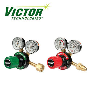 Set Of Genuine Victor Oxygen Acetylene Regulators Medium Duty Brand New