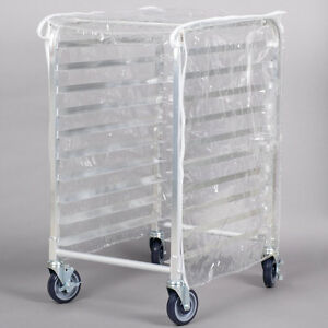 33 3 4 Clear 8 Mil Half size Bakery Plastic Bun Pan Rack Cover With 3 Zippers