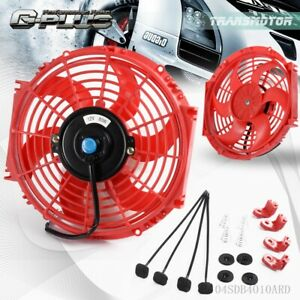 10 Universal Slim Pull Push Racing Radiator Engine Cooling Fan Mounting Kit Red