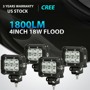 4x 4inch 18w Cree Led Work Light Bar Flood Offroad Fog Lamp 4wd Suv Pickup Atv