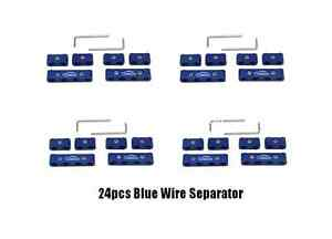 Blue 24x Aluminum Spark Plug Wires Separator 8mm 9mm 10mm Engine Cable Divider