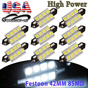 8x White 42mm 5050 8smd Festoon Led Dome Door Map Interior Light Bulbs 211 2 578
