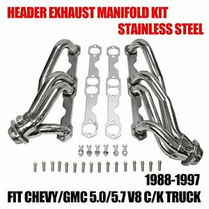 Fit Chevy Gmc 5 0 5 7 V8 C K Truck 88 97 Stainless Steel Header Exhaust Manifold