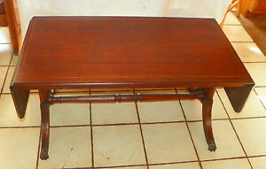 Mahogany Pencil Inlaid Dropleaf Coffee Table By Brandt Rp Ct32