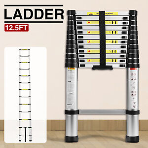 12 5ft Aluminium Telescopic Ladder Extension Foldable Multi purpose Steps En131