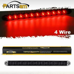 Truck Trailer Smoke Red 11 Led Light Bar Stop Tail Brake Lamp Sealed 15 4 Wires