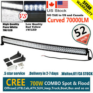 Cree Curved 6d 52 Inch 700w Led Work Light Bar Spot Flood Combo Offroad Vs 7d