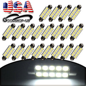 20pcs White 44mm 5050 10smd Festoon Car Interior Dome Map Led Lights Bulbs 211 2