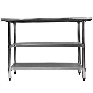Commercial Stainless Steel Work Prep Table With 2 Undershelves 24 X 60