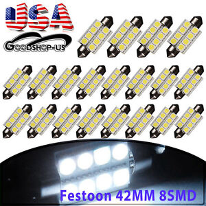 20x Super White 42mm 5050 8smd Festoon Led Car Dome License Interior Light Bulbs