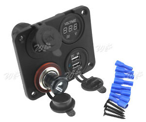 12v Car Dual Usb Plug Socket Cigarette Lighter Splitter Adapter Digital Voltmete
