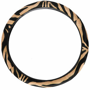 Zebra Pattern Beige Car Thick Steering Wheel Cover Universal Fit 14 5 15 5