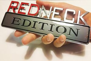 Redneck Edition Truck High Quality Emblem Logo Decal Sign Chrome Red Neck Fits 1950 Ford