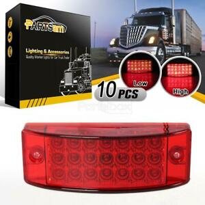10x 6 Red Led Rectangular Rectangle Clearance Side Marker Truck Trailer Light