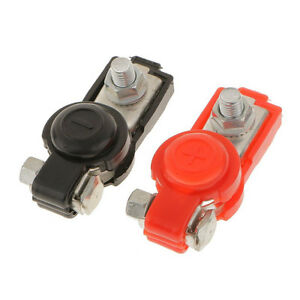 1 Pair Universal 12v Car Adjustable Battery Terminal Clamp Connector W Cover