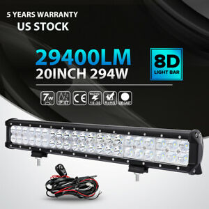 20 Inch 294w Cree Led Light Bar Spot Flood Offroad 4wd Truck Atv Suv Wiring Kit