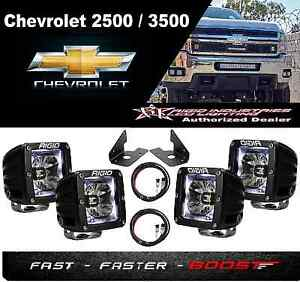 Rigid Radiance Pod White fog Light Kit harness Fits Chevy Silverado 2500 3500