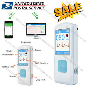 Usa Portable Ecg Ekg Monitor Bluetooth Heart Beat Monitor Usb Lcd Pm10 Ecg Fda