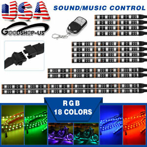 Motorcycle Multi Color 18 Colors Rgb Led Strip Light Music Sensor 12pcs Kit Us