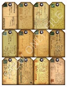 12 Vintage Antique Postcard Hang Tags Scrapbooking Paper Crafts 172