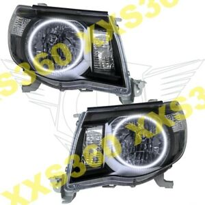 Oracle Halo 2x Headlights Black For Toyota Tacoma 05 11 White Led Angel Eyes