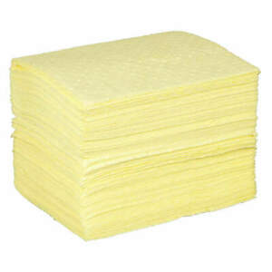 Condor Polypropylene Absorbent Pad chem hazmat yellow pk100 35zp94 Yellow