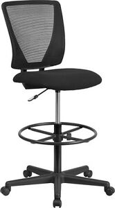 Ergonomic Mid back Mesh Drafting Chair Black Fabric Seat Adjustable Foot Ring