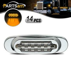 14x 6 5 Led Clear Amber Truck Cab Marker Light Clearance 16 Diodes Fits Fl Kw