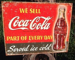 Vintage Coca Cola Sign Tin Metal Soda Pop Bottle Advertising We Sell Every Day