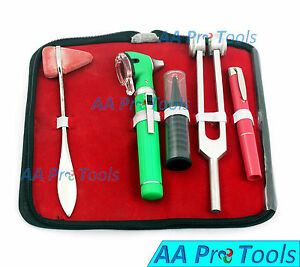 Led Fiber Optic Otoscope Tuning Fork C128 Taylor Hammer Diagnostic Ent Set Green