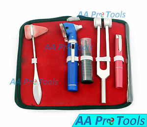 Led Fiber Optic Otoscope Tuning Fork C128 Taylor Hammer Diagnostic Ent Set Blue